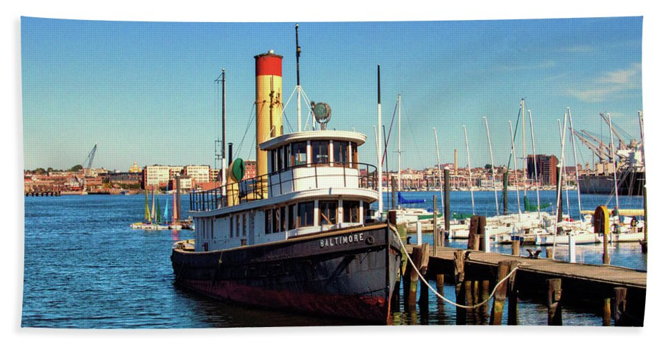 Tugboat Baltimore Bath Sheet featuring the photograph Tugboat Baltimore At The Museum Of Industry by Bill Swartwout Fine Art Photography