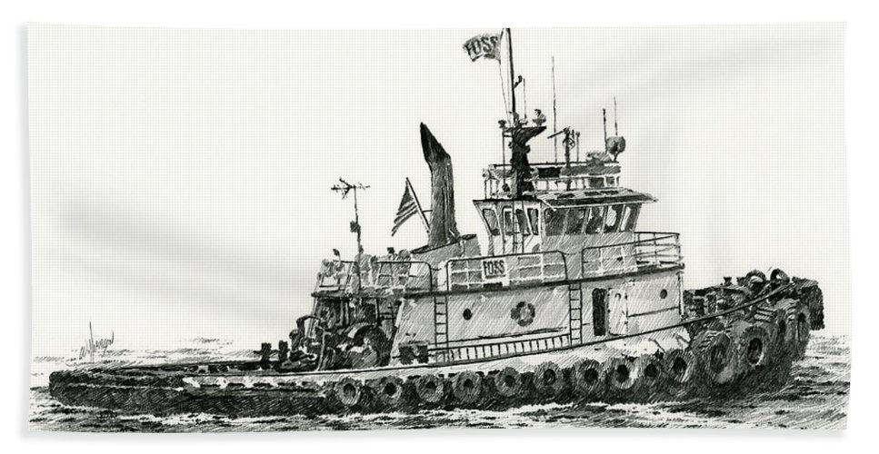 Tug Bath Sheet featuring the drawing Tugboat Shelley Foss by James Williamson