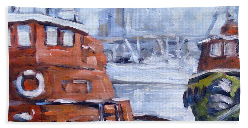 Cascade Hand Towel featuring the painting Tugs In Harbour by Richard T Pranke