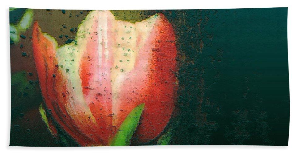 Tulip Bath Sheet featuring the photograph Tulip Of Love by Linda Sannuti