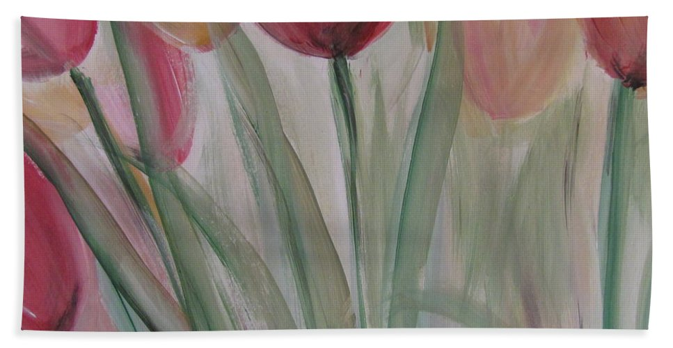 Tulips Bath Sheet featuring the painting Tulip Series 3 by Anita Burgermeister