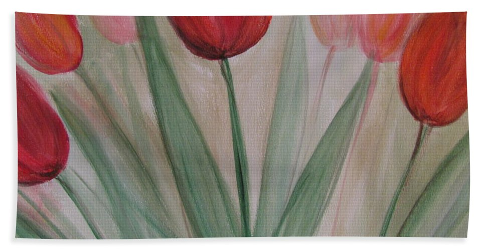 Tulips Bath Sheet featuring the painting Tulip Series 4 by Anita Burgermeister