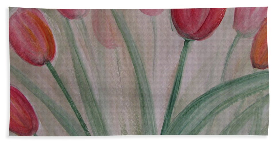 Tulips Bath Sheet featuring the painting Tulip Series 5 by Anita Burgermeister