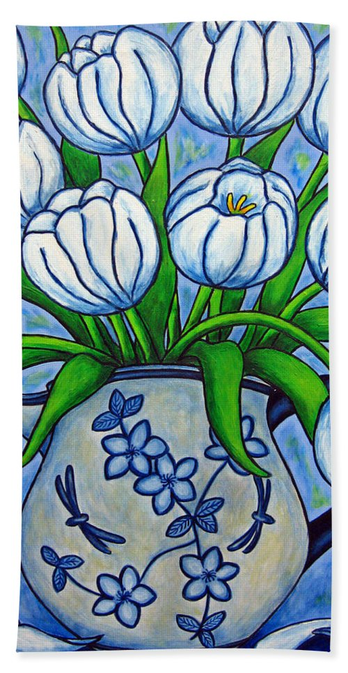 Flower Bath Towel featuring the painting Tulip Tranquility by Lisa Lorenz