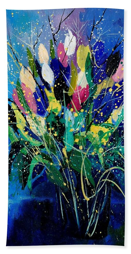Flowers Bath Sheet featuring the painting Tulips 45 by Pol Ledent