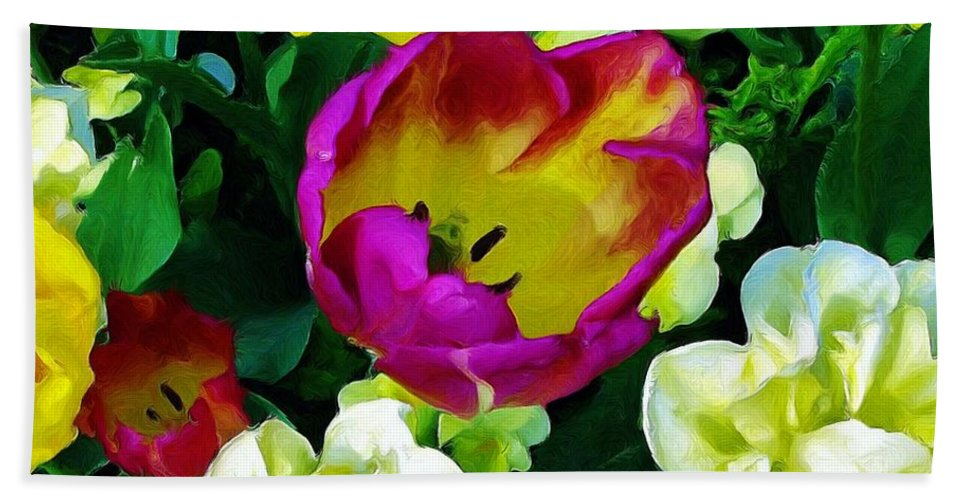 Flowers Hand Towel featuring the painting Tulips And Flowers by Susanna Katherine