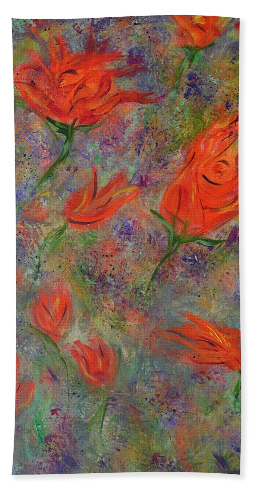 Abstract Art Hand Towel featuring the painting Tulips- Floral Art- Abstract Painting by Kathy Symonds