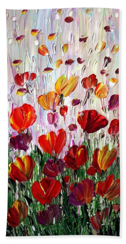 Flowers Hand Towel featuring the painting Tulips Flowers Garden Seria by Luiza Vizoli