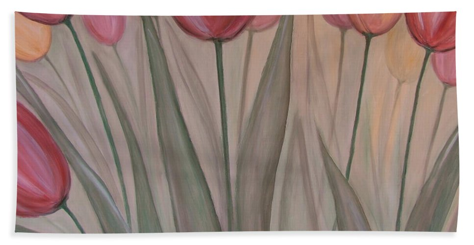 Tulips Bath Sheet featuring the painting Tulips For Carol by Anita Burgermeister