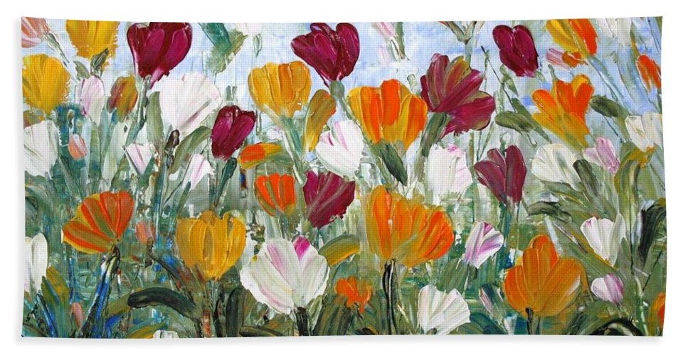 Oil Bath Towel featuring the painting Tulips Garden by Luiza Vizoli