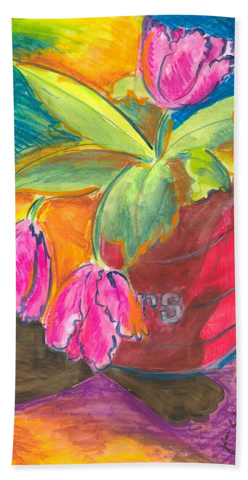 Flowers Bath Towel featuring the painting Tulips In Can by Jean Blackmer