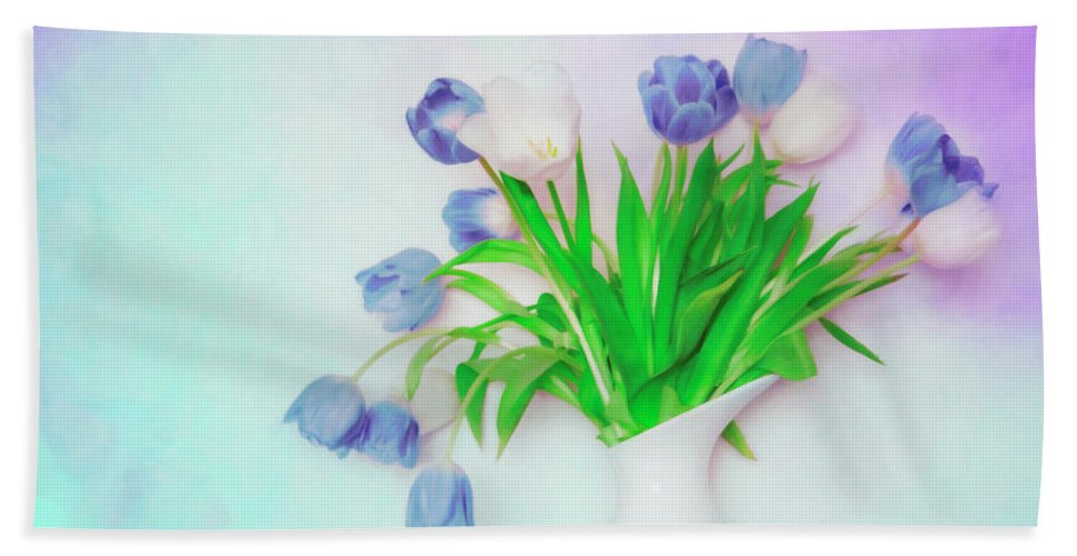 Flowers Hand Towel featuring the photograph Tulips In Winter by Hal Halli