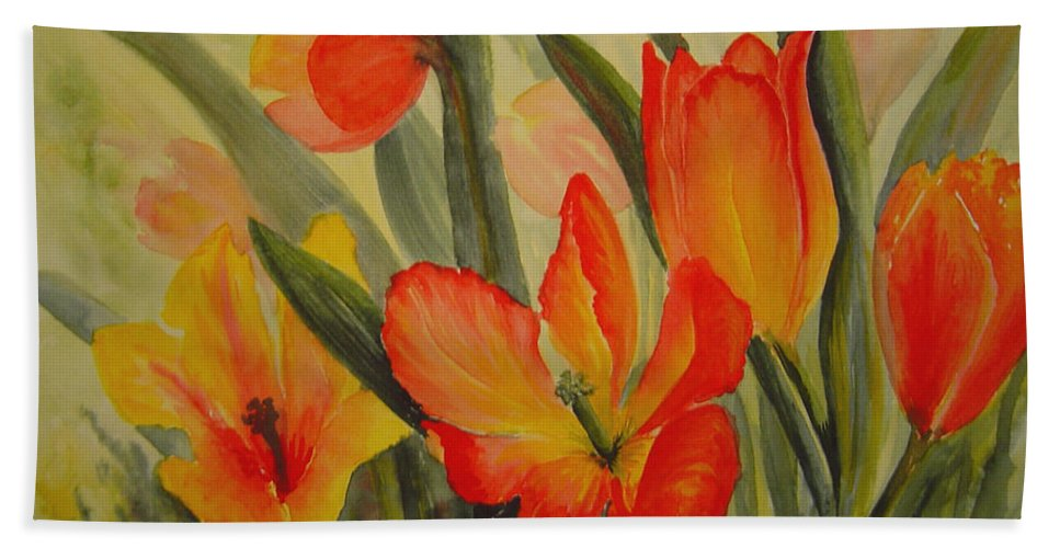 Spring Tulips Hand Towel featuring the painting Tulips by Joanne Smoley