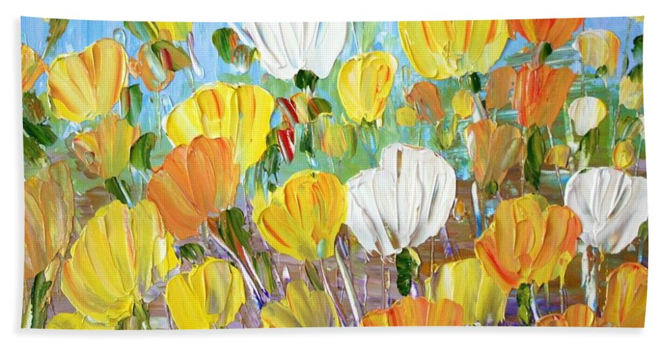 Flowers Hand Towel featuring the painting Tulips by Luiza Vizoli