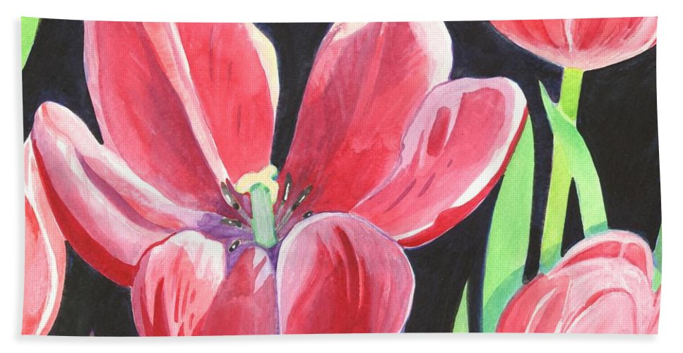 Flower Bath Towel featuring the painting Tulips On Black by Helena Tiainen
