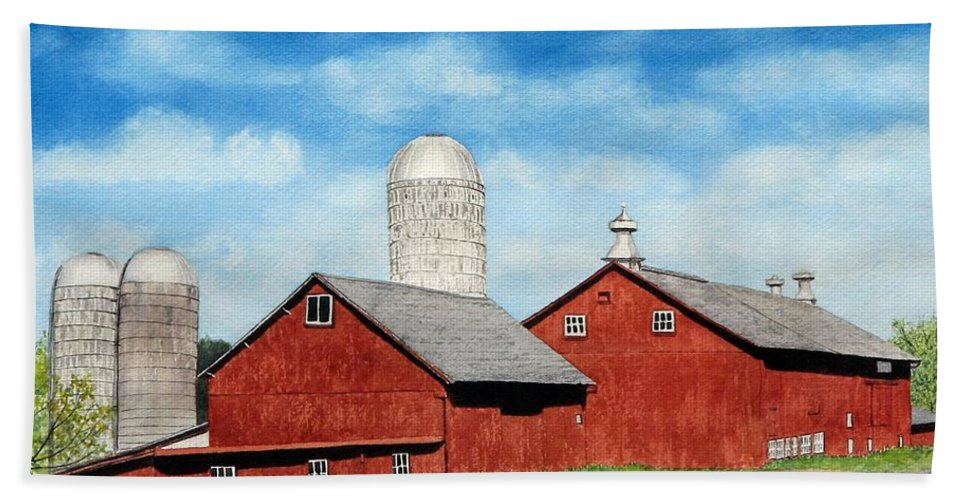 Farm Hand Towel featuring the painting Tulmeadow Farm by Sharon Farber