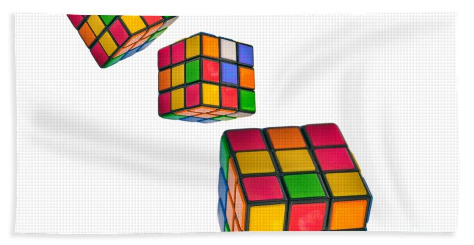 Cube Bath Sheet featuring the photograph Tumbling Cubes by Martin Newman