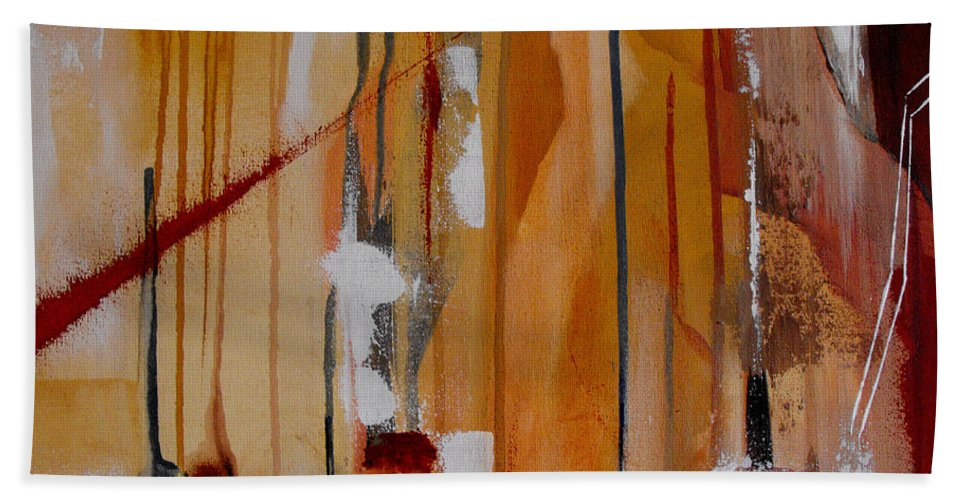 Abstract Bath Sheet featuring the painting Turbulent Times by Ruth Palmer
