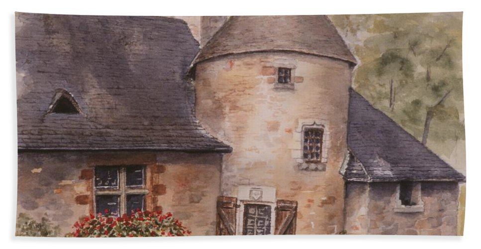 Watercolor Bath Towel featuring the painting Turenne by Mary Ellen Mueller Legault