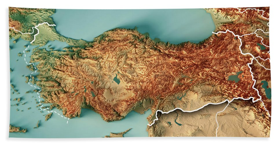 turkey country 3d render topographic map border hand towel for sale