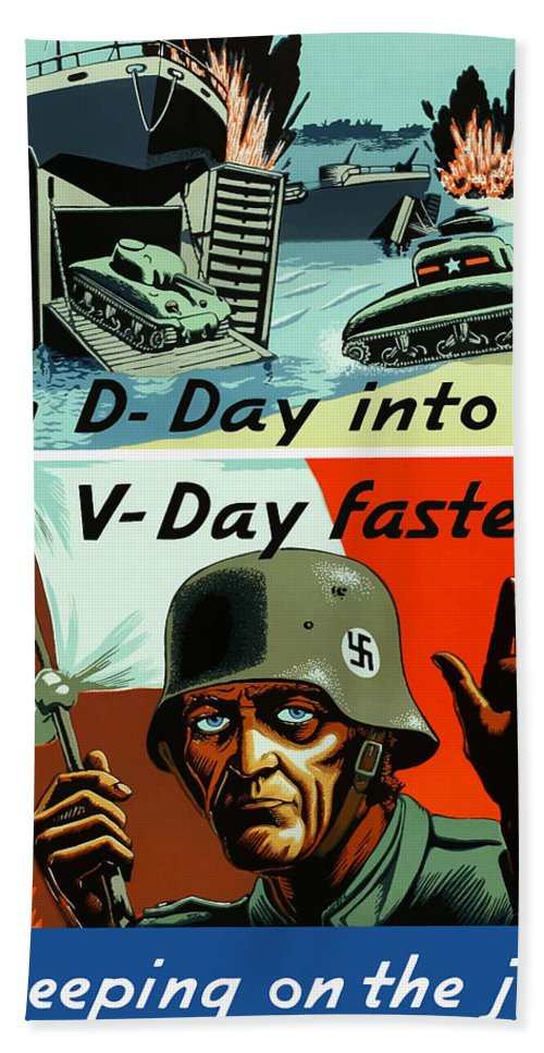 D Day Hand Towel featuring the painting Turn D-day Into V-day Faster by War Is Hell Store