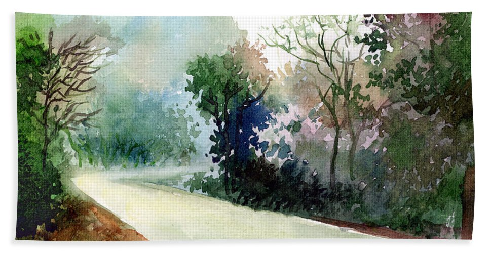 Landscape Water Color Nature Greenery Light Pathway Bath Towel featuring the painting Turn Right by Anil Nene