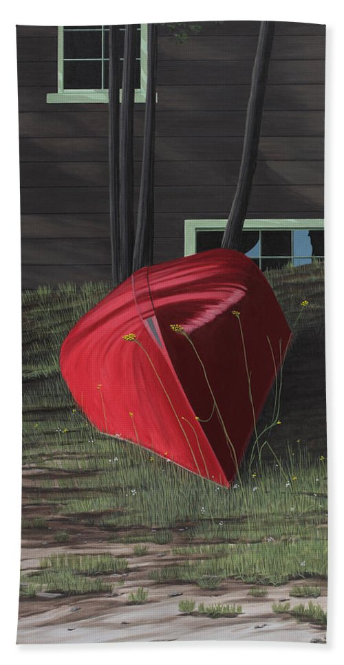 Canoes Hand Towel featuring the painting Turned Down Day by Kenneth M Kirsch