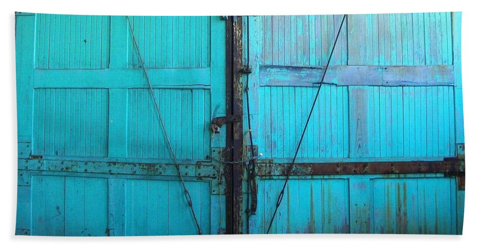 Akers Bath Sheet featuring the photograph Turquoise Doors by Edmund Akers