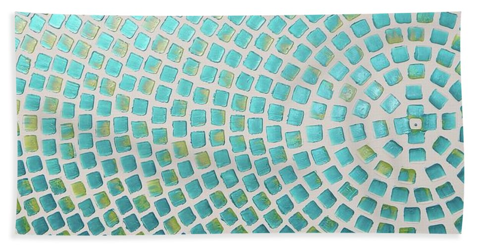 Painting Bath Sheet featuring the painting turquoise meets green P2 by Ilonka Walter