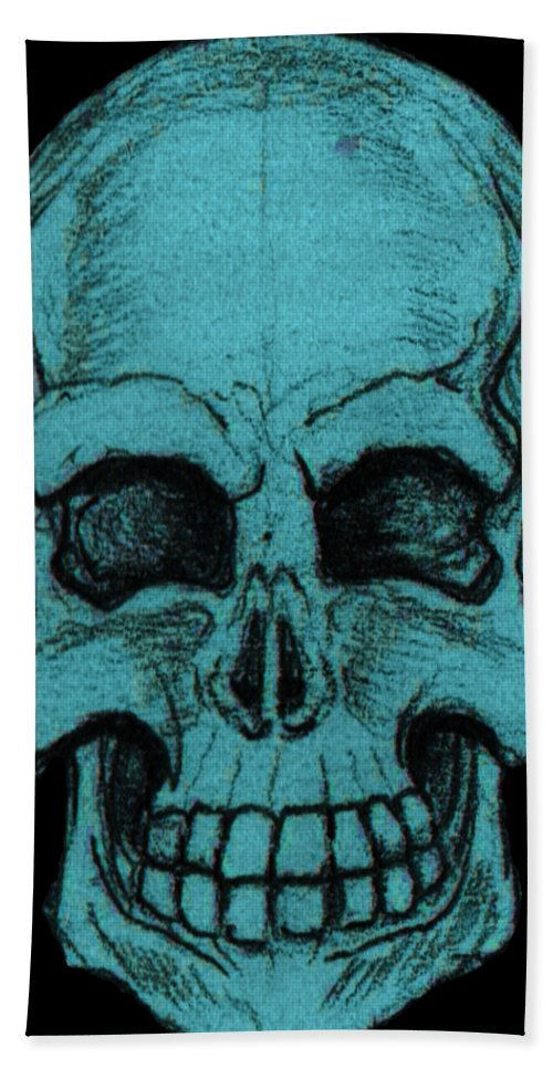 Skull Bath Sheet featuring the drawing Turquoise Skull by Nikolaos Chantzis