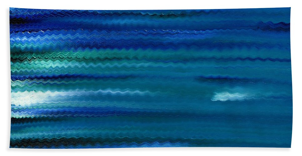 Abstract Bath Sheet featuring the painting Turquoise Waves by Hakon Soreide
