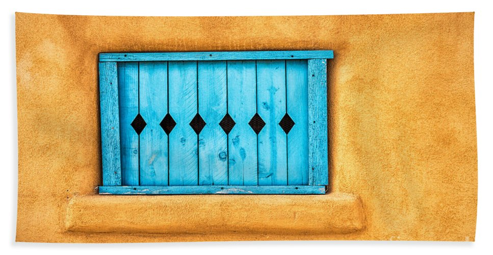 Adobe Bath Sheet featuring the photograph Turquoise Window Shutter by Jerry Fornarotto