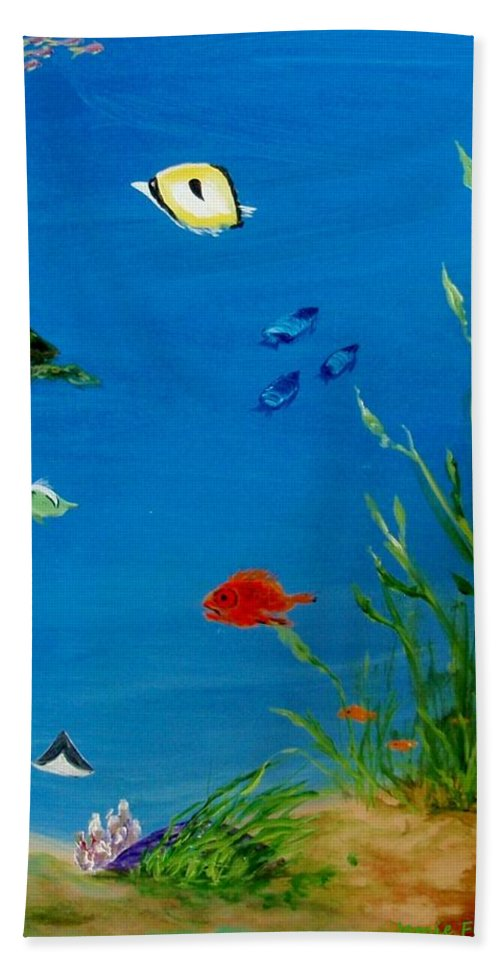 Water Bath Sheet featuring the painting Turtle And Friends by Jamie Frier