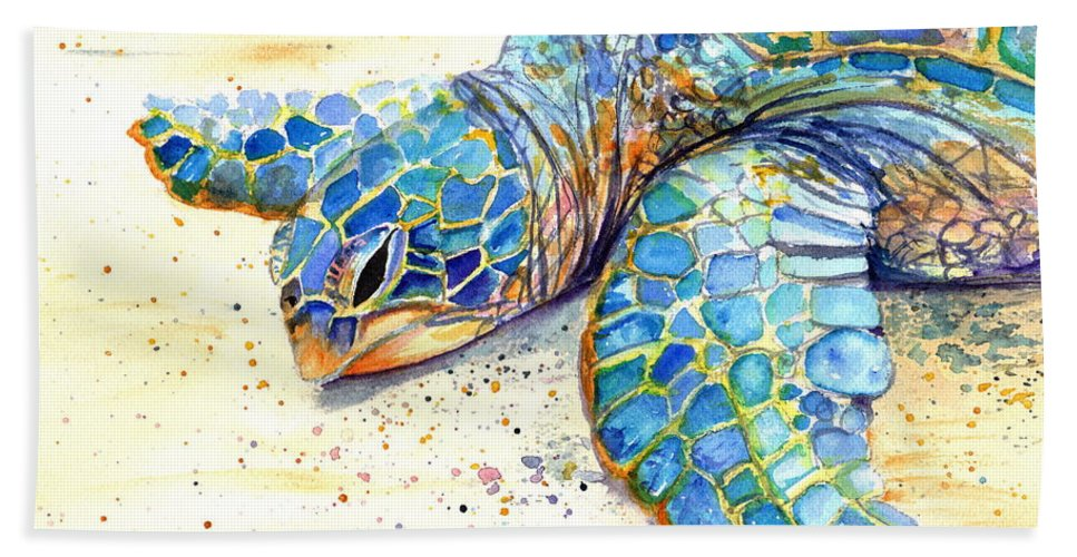 Turtle Hand Towel featuring the painting Turtle At Poipu Beach 4 by Marionette Taboniar