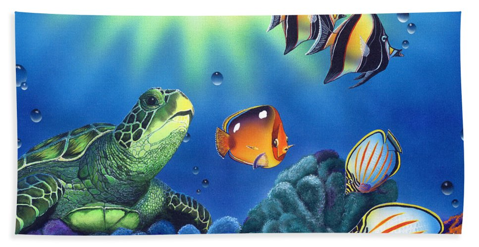 Turtle Bath Sheet featuring the painting Turtle Dreams by Angie Hamlin