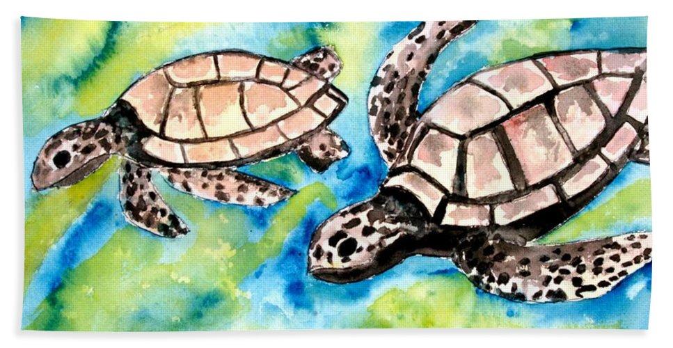 Love Bath Sheet featuring the painting Turtle Love Pair Of Sea Turtles by Derek Mccrea