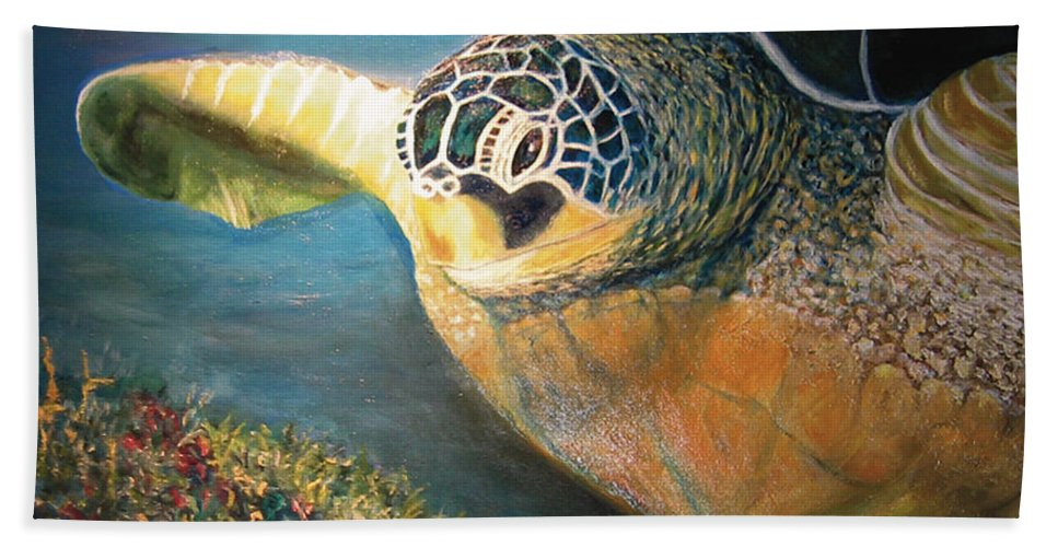 Karen Zuk Rosenblatt Art And Photography Hand Towel featuring the painting Turtle Run by Karen Zuk Rosenblatt