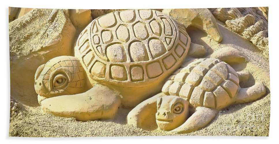 Animal Bath Sheet featuring the photograph Turtle Sand Castle Sculpture On The Beach 999 by Ricardos Creations