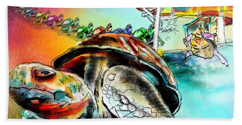 Turtle Bath Sheet featuring the painting Turtle Slide by Miki De Goodaboom