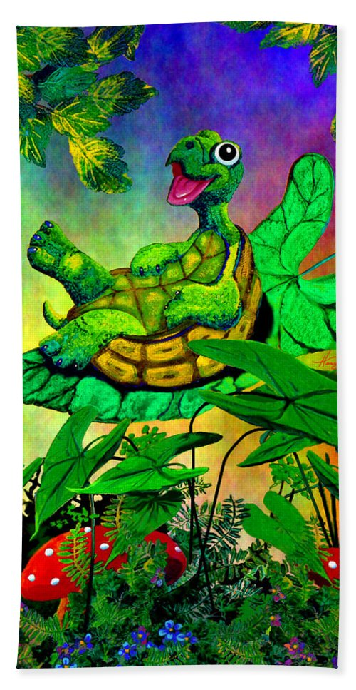 Turtle Hand Towel featuring the painting Turtle-totter by Hanne Lore Koehler