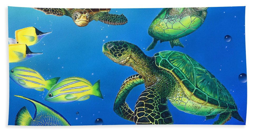 Turtle Bath Sheet featuring the painting Turtle Towne by Angie Hamlin