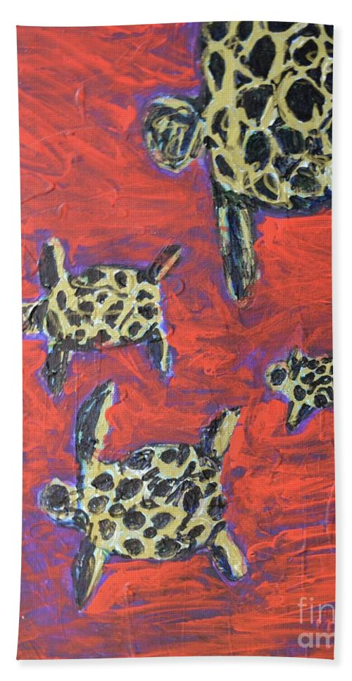 #turtles #painting #abstractart Bath Sheet featuring the painting Turtles by Aj Watson