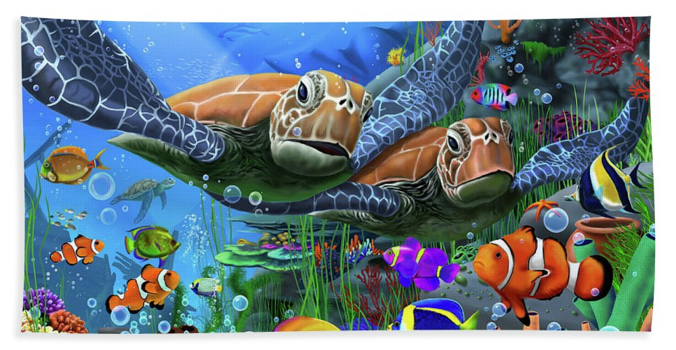 Turtles Hand Towel featuring the digital art Turtles Of The Deep by MGL Meiklejohn Graphics Licensing