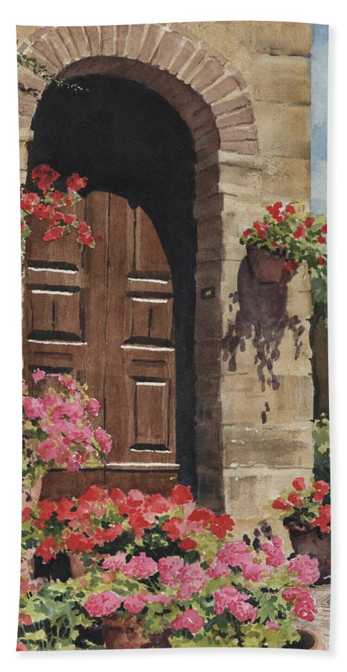 Flowers Bath Towel featuring the painting Tuscan Door by Sam Sidders
