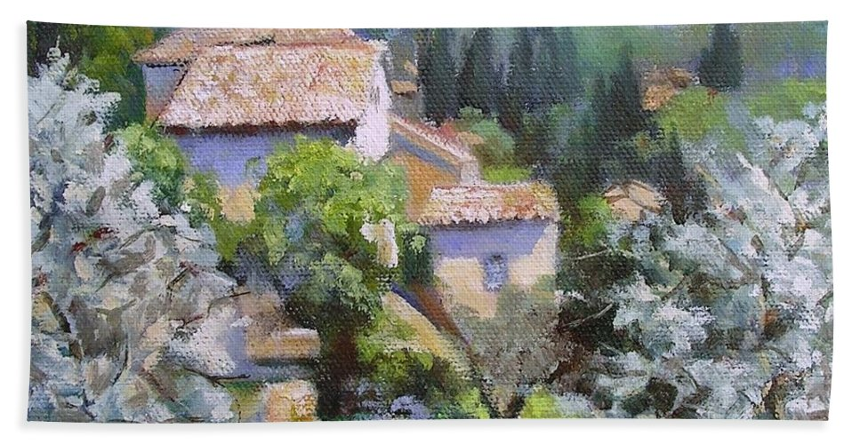 Landscape Hand Towel featuring the painting Tuscan Hilltop Village by Chris Hobel