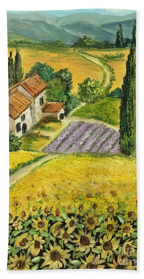 Landscape Bath Sheet featuring the painting Tuscan Italy by Aysel Mekhtieva