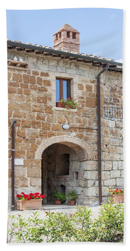 Old Stone Building Hand Towel featuring the photograph Tuscan Old Stone Building by Sally Weigand