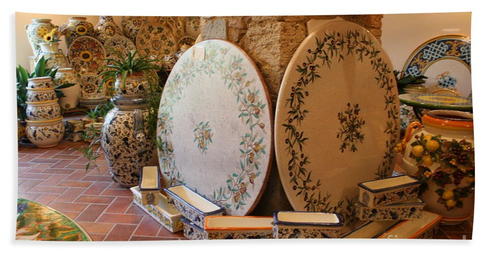 Pottery Bath Sheet featuring the photograph Tuscan Pottery by Christiane Schulze Art And Photography