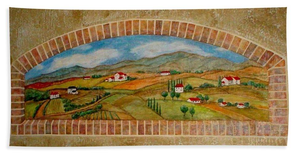 Mural Bath Towel featuring the painting Tuscan Scene Brick Window by Anita Burgermeister