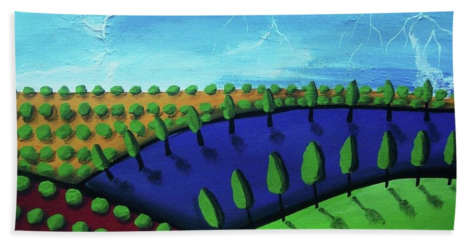 Tuscan Bath Sheet featuring the painting Tuscan Storm by Katie Slaby